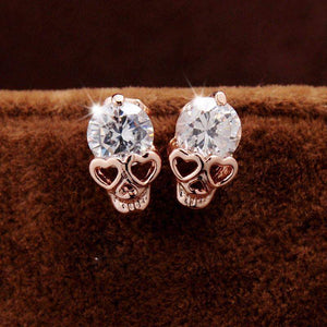 CRYSTAL STUD SKULL EARRINGS