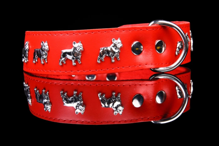 ZOOLeszcz Leather Felt French Bulldog Collar