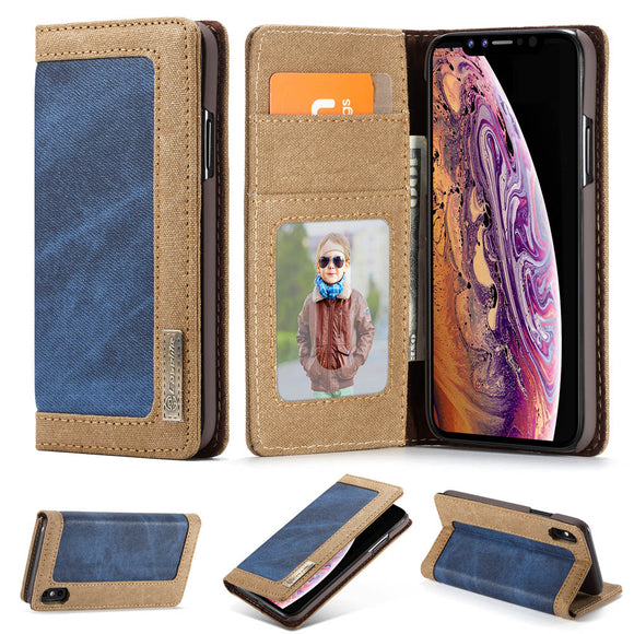 CaseMe For iPhone XS/X Canvas Leather Magnetic Flip Wallet Stand Case