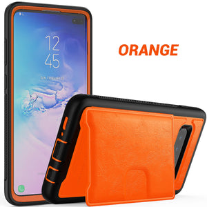 Multi-function Hard Frame Bumper Leather Case For Samsung Galaxy S10 Plus