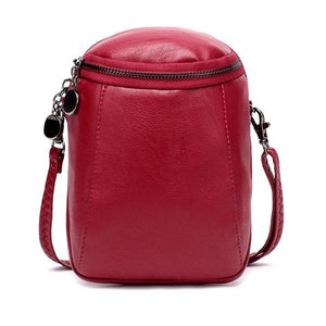 Women Casual Shoulder Bag Round  Leather Small Sock Exchange Secchielllo bag Vintage