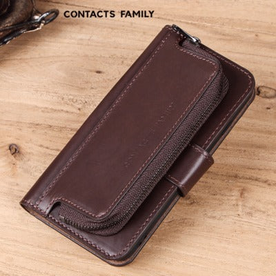 Mobile phone case holster for Samsung S9 multi-function zipper purse shatter-resistant leather phone case