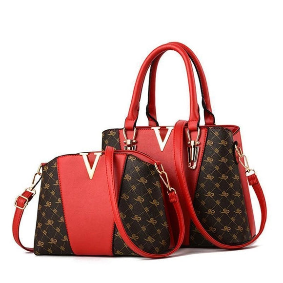 2 PCS VINTAGE PLAID WOMEN BAGS SET LEATHER HANDBAG
