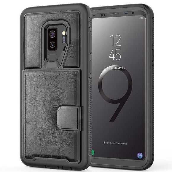 Multi-function Hard Frame Bumper Leather Case For Samsung Galaxy S9 S9 +