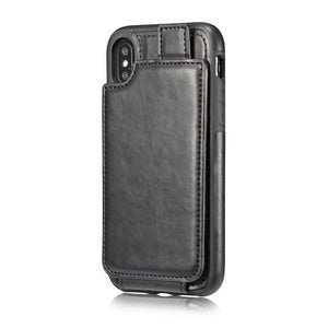 iPhone PU Leather Card Holder Back Cover Case
