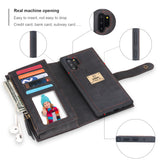 POLA Samsung Wallet Case , Leather Zipper Purse Detachable Magnetic 10 Card Slots Money Pocket Clutch Protection Back Cases Cover