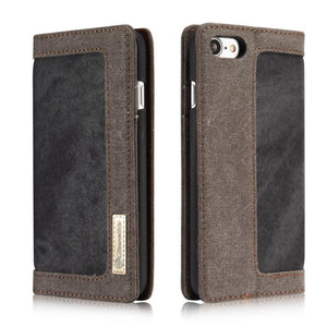 CaseMe For  iPhone 6 Plus/6s Plus Canvas Leather Wallet Stand Magnetic Flip Case
