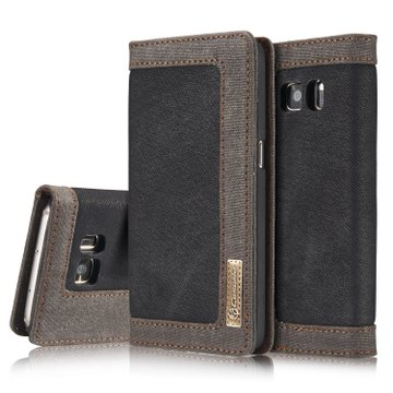 CaseMe For Samsung Galaxy S7 Canvas Leather Wallet Stand Magnetic Flip Case