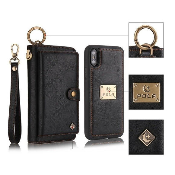 POLA Genuine Leather Zipper Wallet Purse Phoe Bag For iphone
