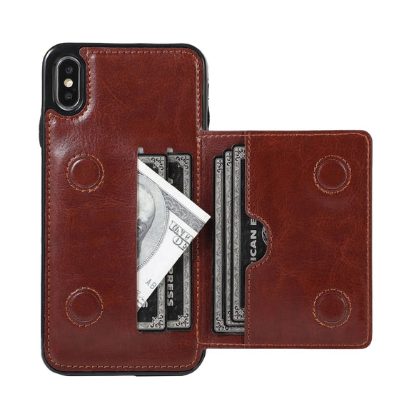 Premium Leather Kickstand Durable Shockproof Protective Cover For iPhone Series
