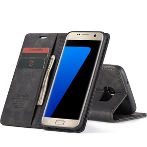 CaseMe(013) For Samsung Galaxy S7 Edge Retro Wallet Kickstand Magnetic Flip Leather Case