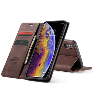 CaseMe For iPhone XS Max Retro Wallet Kickstand Magnetic Flip Leather Case