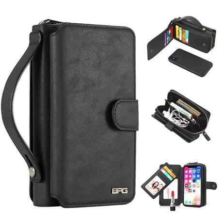 BRG iPhone Detachable 2 in 1 Zipper Wallet Case with Handbag