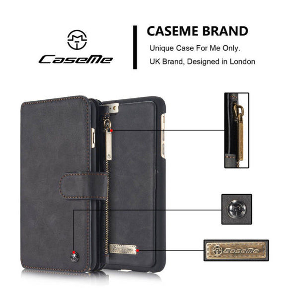 CaseMe For iPhone 6/6s Zipper Wallet Flip Folio Case Magnetic Detachable 2 in 1 Back Cover