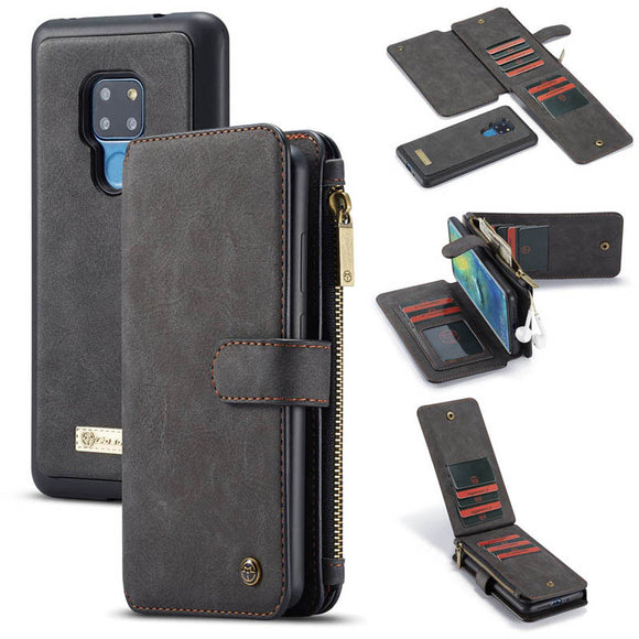 CaseMe For Huawei Mate 20 Zipper Wallet Case Magnetic Detachable 2 in 1 Back Cover