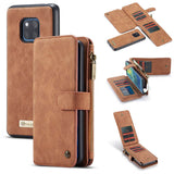 CaseMe For Huawei Mate 20 Pro Zipper Wallet Case Magnetic Detachable 2 in 1 Back Cover