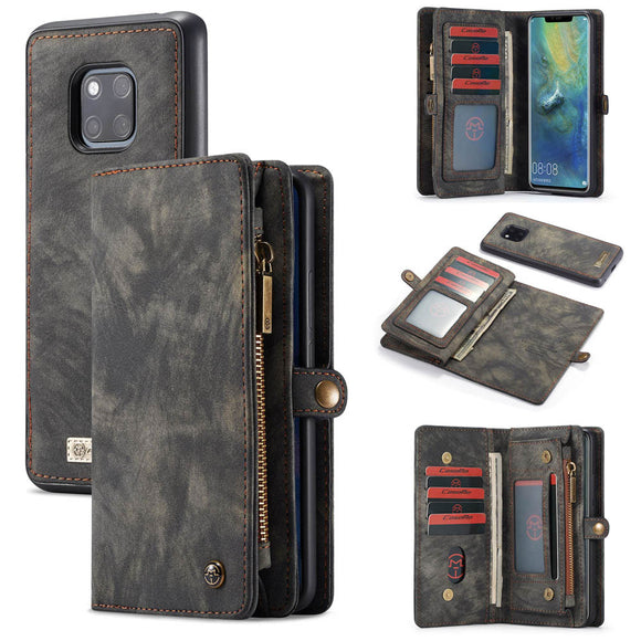 CaseMe For Huawei Mate 20 Pro Zipper Wallet Magnetic Detachable 2 in 1 Case