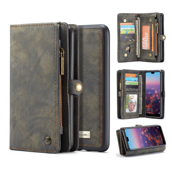 CaseMe For Huawei P20 Zipper Wallet Magnetic Folio Case Detachable 2 in 1 Back Cover