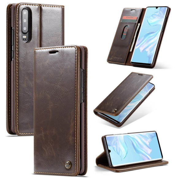 CaseMe For Huawei P30 Wallet Stand Magnetic Flip PU Leather Case