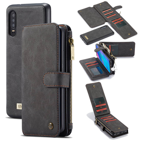 CaseMe For Huawei P30/P30 Pro/P30 lite Zipper Wallet Magnetic Case Detachable 2 in 1 Back Cover