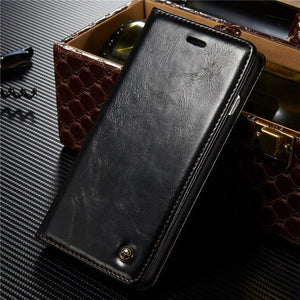 CaseMe For Leather Case For iPhone  Luxury Retro Flip Wallet Stand Card Holder