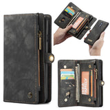 CaseMe For OnePlus 7 Wallet Magnetic Detachable 2 in 1 Case Black