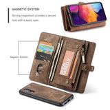 CaseMe For Samsung Galaxy A50 Zipper Wallet Magnetic Case Detachable 2 in 1 Cover