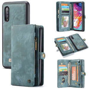 CaseMe For Samsung Galaxy A70 Zipper Wallet Magnetic Case Detachable 2 in 1 Cover