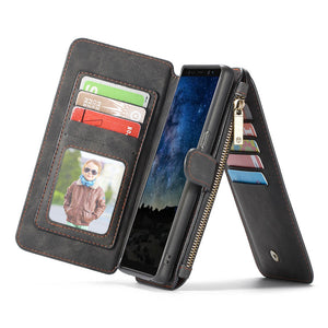 CaseMe For Samsung Galaxy Note 9 Zipper Wallet Magnetic Flip Folio Case Detachable 2 in 1 Back Cover