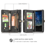 CaseMe For Samsung Galaxy Note 9 Zipper Wallet Magnetic Folio Case Detachable 2 in 1 Back Cover