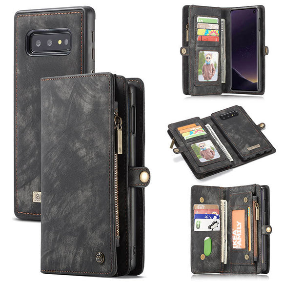 CaseMe For Samsung Galaxy S10e Zipper Wallet Magnetic Folio Case Detachable 2 in 1 Cover