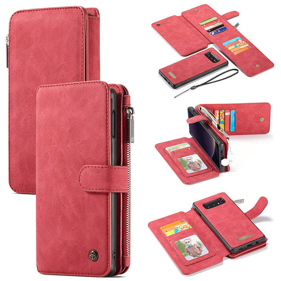 CaseMe For Samsung Galaxy S10e Zipper Wallet Magnetic Flip Folio Case Detachable 2 in 1 Cover