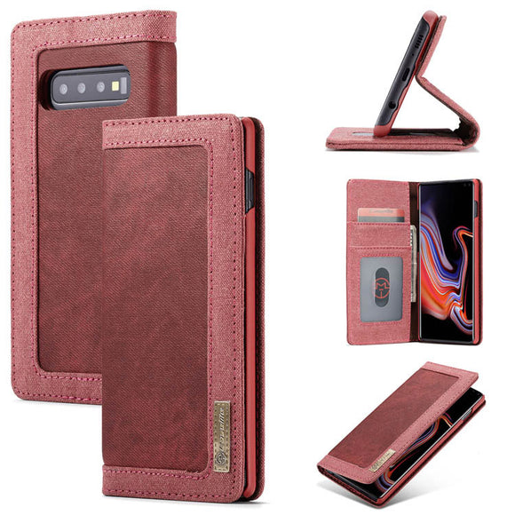CaseMe For Samsung Galaxy S10 Plus Canvas Leather Wallet Magnetic Stand Case