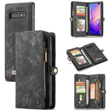 CaseMe For Samsung Galaxy S10 Zipper Wallet Magnetic Folio Case Detachable 2 in 1 Cover
