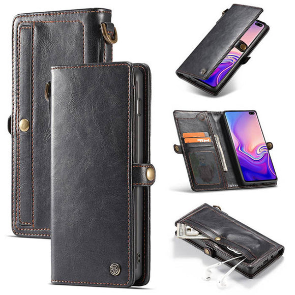 CaseMe For Samsung Galaxy S10 Wallet Magnetic Case With Wrist Strap Detachable 2 in 1 Back Cover