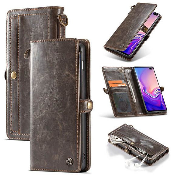 CaseMe For Samsung Galaxy S10 Plus Wallet Magnetic Case With Wrist Strap Detachable 2 in 1 Back Cover