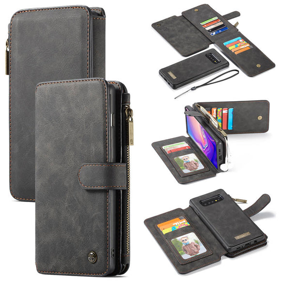 CaseMe For Samsung Galaxy S10 Plus Zipper Wallet Magnetic Flip Folio Case Detachable 2 in 1 Cover