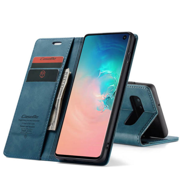 CaseMe For Samsung Galaxy S10 Plus Retro Wallet Kickstand Magnetic Flip Leather Case
