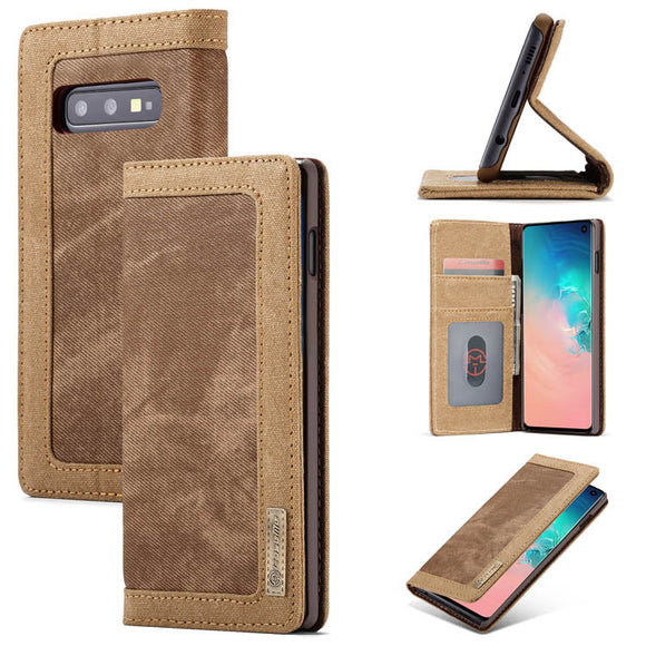 CaseMe For Samsung Galaxy S10e Canvas Leather Wallet Stand Magnetic Case