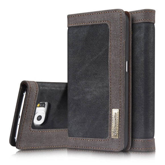 CaseMe For Samsung Galaxy S6 Canvas Leather Wallet Stand Magnetic Flip Case