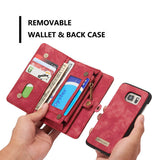 CaseMe For Samsung Galaxy S7 Zipper Wallet Folio Case Magnetic Detachable 2 in 1 Back Cover