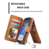 CaseMe For Samsung Galaxy S7 Edge Zipper Wallet Magnetic Flip Folio Case Detachable 2 in 1 Back Cover