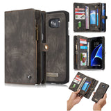 CaseMe For Samsung Galaxy S7 Edge Zipper Wallet Magnetic Folio Case Detachable 2 in 1 Back Cover
