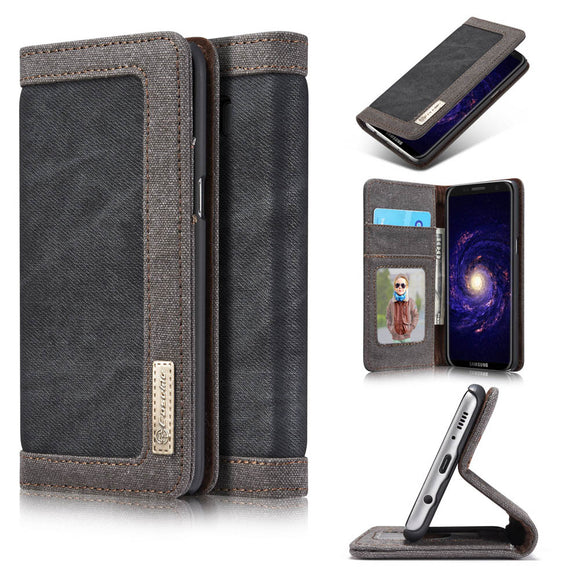 CaseMe For Samsung Galaxy S8 Canvas Leather Wallet Stand Magnetic Flip Case