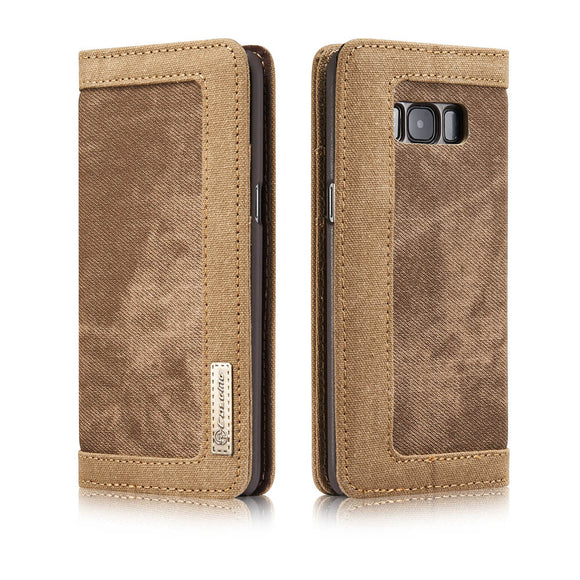 CaseMe For Samsung Galaxy S8 Plus Canvas Leather Wallet Stand Magnetic Flip Case