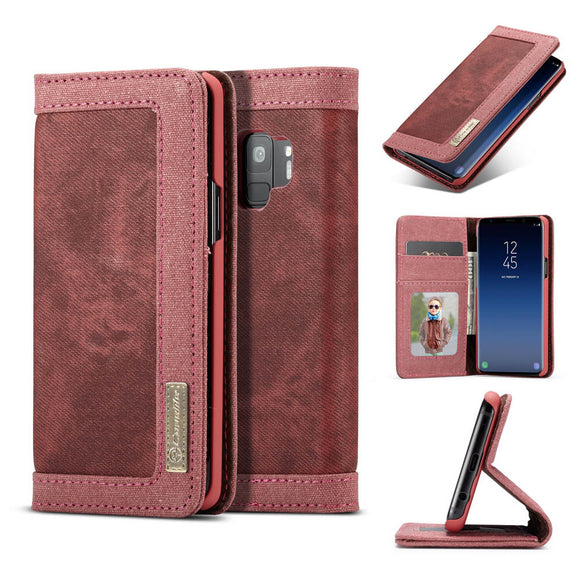 CaseMe For Samsung Galaxy S9 Canvas Leather Wallet Stand Magnetic Flip Case