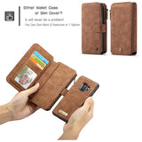 CaseMe For Samsung Galaxy S9 Zipper Wallet Magnetic Flip Folio Case Detachable 2 in 1 Back Cover
