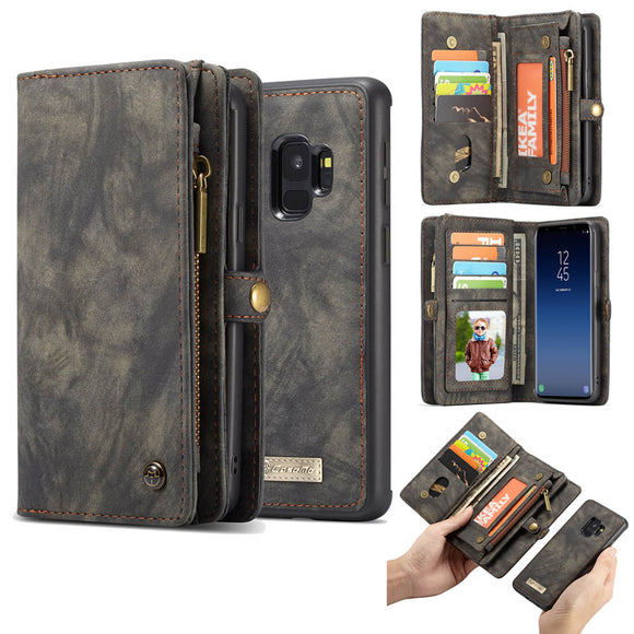CaseMe For Samsung Galaxy S9 Zipper Wallet Magnetic Folio Case Detachable 2 in 1 Back Cover