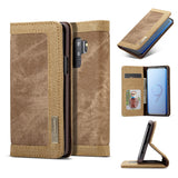 CaseMe For Samsung Galaxy S9 Plus Canvas Leather Wallet Stand Magnetic Flip Case