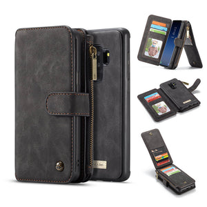 CaseMe For Samsung Galaxy S9 Plus Zipper Wallet Magnetic Flip Folio Case Detachable 2 in 1 Back Cover